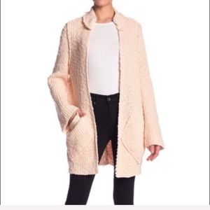 NWT Free People Pink Long Oversized Knit Cardigan